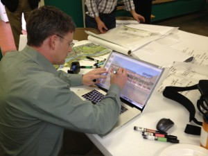 Design Link Team member Kevin Marion sketching at Mayodan workshop